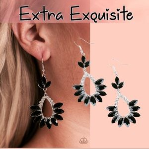 Extra Exquisite Marquise Black Fringe Earrings